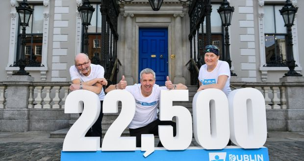 2019 is the 40th Year Anniversary of the Dublin Marathon with, from left, Frank Behan, the most senior, Martin Kelly, the youngest and Mary Nolan Hickey, the only female, to have competed in all 39 Dublin marathons since 1979 present at today's announcement at the Mansion House in Dublin. Photo: David Fitzgerald/Sportsfile