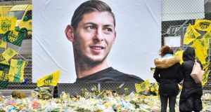 A memorial to Emiliano Sala in Nantes. Photograph: Loic Venance/AFP/Getty Images