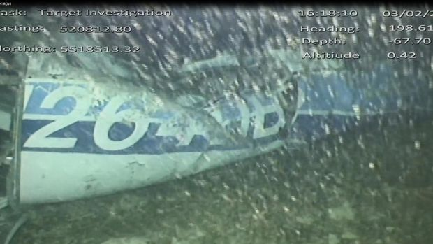 Wreckage of the plane which was carrying Emiliano Sala and David Ibbotson, after it was discovered in the English Channel. Photograph: AAIB/PA Wire