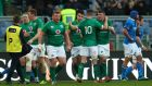 Ireland celebrate after Conor Murray scores a try in their  Six Nations Round 3 match against Italy at  Stadio Olimpico, Rome on Sunday. Photograph: James Crombie/Inpho