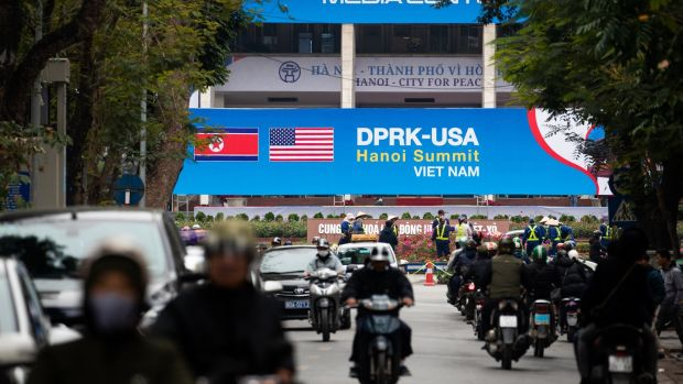 Preparations take place ahead of the North Korea-US summit in Hanoi, Vietnam. Photograph: Seong Joon Cho/Bloomberg