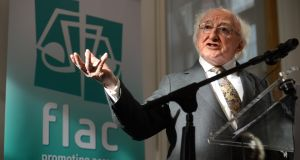 President Michael D Higgins at the official opening of  Flac's new head office in Dublin, which coincides with its 50th anniversary. Photograph: Dara Mac Dónaill