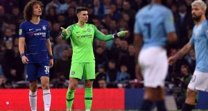 Chelsea's goalkeeper Kepa Arrizabalaga refusing to be substituted. Photograph: EPA