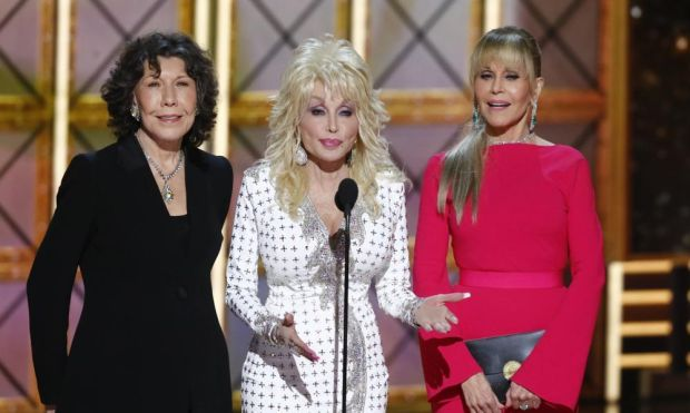 'If I've got something to say, I'll say it': Dolly Parton with Lily Tomlin and Jane Fonda at the 2017 Emmys. Photograph: CBS/Getty