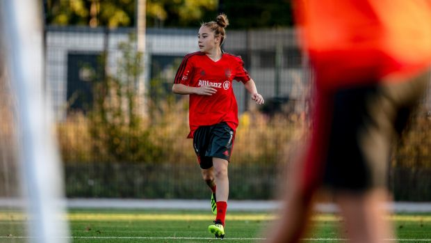 Olivia Moultrie during a training session with Bayern Munich in 2018. Photograph: Daniel Etter/The New York Times