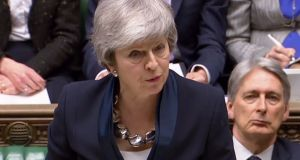 Theresa May makes a statement to the House of Commons in London on Brexit on Tuesday. Photograph: Getty Images