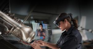A factory worker using HoloLens2. Microsoft Workers 4 Good say that intent to harm is an unacceptable use of HoloLens technology