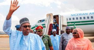 INigeria incumbent president Muhammadu Buhari (left), of the All Progressives Congress party and wife Aisha Buhari (right) arrive in Abuja from Daura, Nigeria on February 25th. Photograph: Bayo Omoboriowo/Nigeria State House/AP