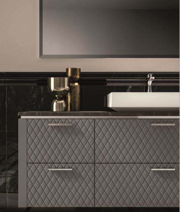 GB group's vanities come in six different texture options, including one that emulates the look of a Chanel classic handbag