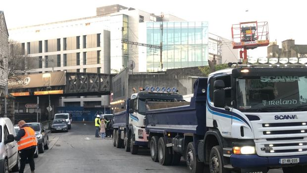 94d2faea21c Lorries wait on Mark Street on Tuesday morning as residents block access to  a building site