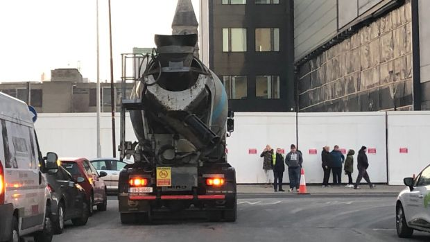 b5be0f02b41 A lorry waits on Mark Street on Tuesday morning as residents block access to  a building