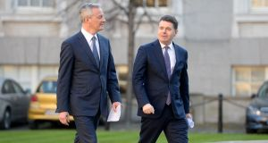 The Minister for Finance Paschal Donohoe (right), with his French counterpart, Bruno Le Maire at Government Buildings. Photograph: Alan Betson/The Irish Times