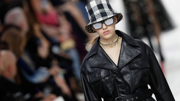 A model on the catwalk for the autumn/winter collection by designer Maria Grazia Chiuri for Dior at Paris Fashion Wee on Monday. Photograph: Ian Langsdon/EPA