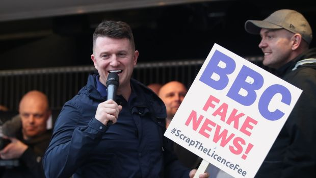 Tommy Robinson addresses a protest over the BBC's Panorama programme outside the BBC in MediaCityUK, Salford on Februrary 23rd. Photograph: Danny Lawson/PA Wire
