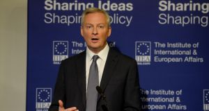 France's minister of the economy and finance Bruno Le Maire speaking at the Institute of International and European Affairs in North Great Georges St.Photograph: Alan Betson