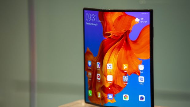The new Huawei Mate X mobile phone is shown on display at Mobile World Congress. It has been regarded as superior to Samsung's new foldable device. Photograph: David Ramos/Getty Images