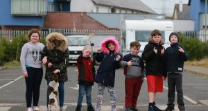 Children pictured  at the halting site on the Balgaddy Road, Clondalkin in January. Photograph Nick Bradshaw