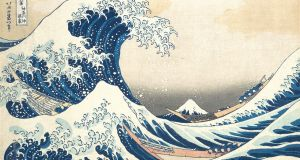 Hokusai's woodcut The Great Wave off Kanagawa. The wave is estimated at more than 10m in height. In January 2014,  a wave off Killard Point in Co Clare was measured at almost 30m.