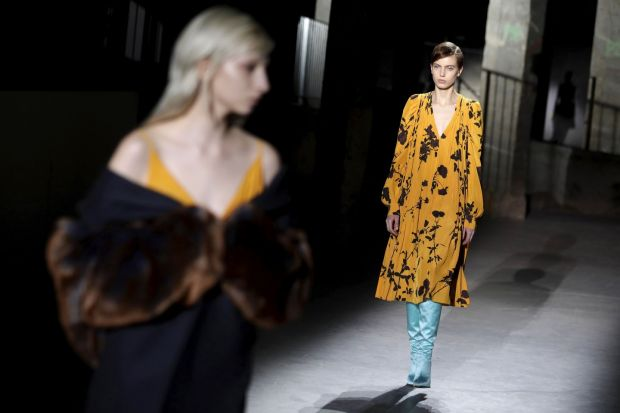 A model presents a creation by Dries Van Noten. Photograph: Thomas Samson/AFP/Getty
