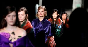 Models present creations by Dries Van Noten at  Paris fashion week on February 27th. Photograph: Thomas Samson/AFP/Getty