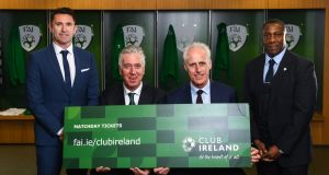At the launch of the new Club Ireland premium tickets at the Aviva stadium were (from left) Ireland assistant manager Robbie Keane, FAI chief executive John Delaney, Ireland manager Mick McCarthy and Ireland assistant manager Terry Connor. Photograph:  Stephen McCarthy/Sportsfile