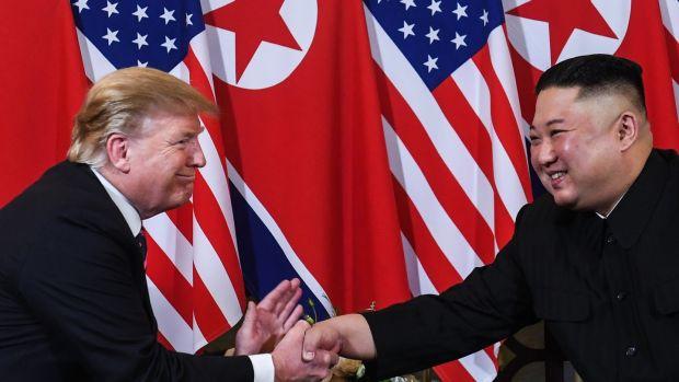 US President Donald Trump and North Korea President Kim Jong One at the Metropole Sofitel Hotel in Hanoi Photograph: Saul LOEB / AFP / Getty