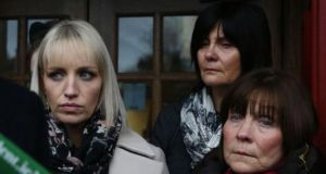 Clodagh Hawe's mother, Mary Coll (right), sister Jacqueline Connolly (left) and another family member outside Cavan courthouse following an inquest   in December 2017. File photograph: Brian Lawless/PA
