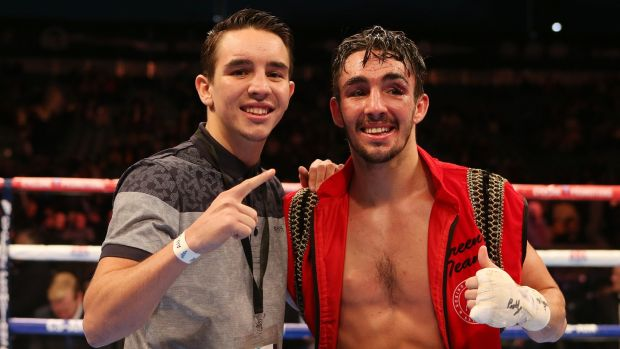 Michael Conlan celebrates with his brother Jamie after he beat Jose Estrella in 2014. Photograph: Matt Mackey/InphoIe