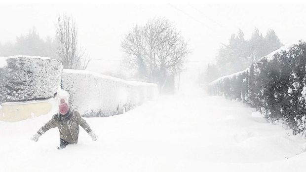 Snow drifts make roads virtually impassable in Rathmore, Co Kildare. Photograph: Niall Seargent