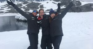 Dr Tara Shine with Irish scientists Dr Deirdre Collins and Dr Charlotte Conn during the 2018 Homeward Bound voyage to Antartica.
