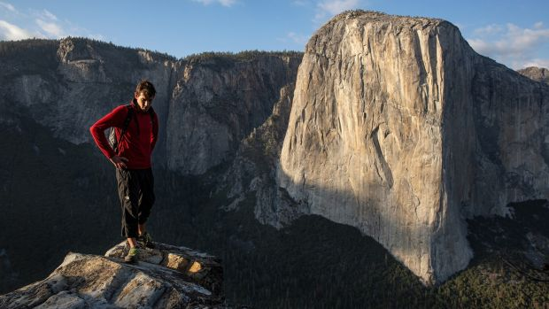 Photograph: Alex Honnold on the summit of El Capitan. Jimmy Chin/National Geographic