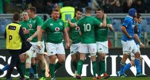 Ireland's muted celebrations after  Conor Murray secured a bonus point against Italy. The body language of the Irish team in Rome was telling. Photograph: James Crombie/Inpho