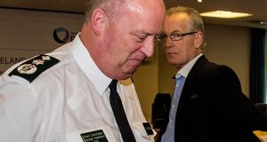 PSNI Chief Constable George Hamilton (left) and Sinn Féin's Policing Board member Gerry Kelly, pictured in Belfast on Tuesday. Photograph: Liam McBurney/PA Wire