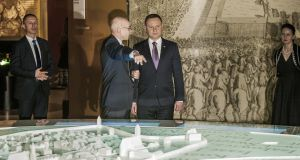 President of Poland Andrzej Duda and  director of the Polin Dariusz Stola: the national conservative Law and Justice government has complained the museum is too political. Photograph:  Celestino Arce/NurPhoto