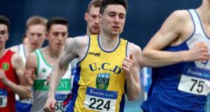 Mark English winning a sixth national indoor title in the men's 800m at the  recent National Senior Indoor ChampionshipsChampionships at the  National Indoor Arena, Dublin. Photograph: Bryan Keane/Inpho