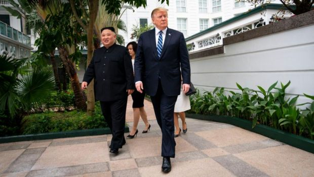 Trump and Kim walk together to a meeting in Hanoi, Vietnam on February 28th. Photograph: Doug Mills/The New York Times