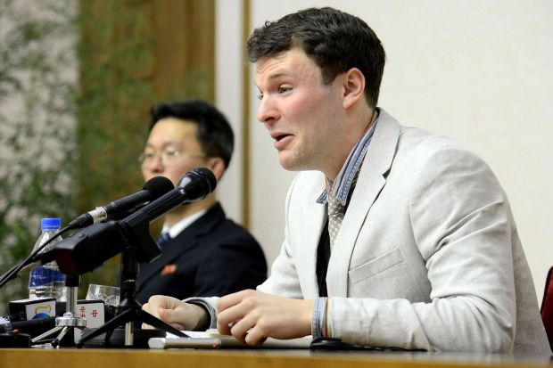 US student Otto Frederick Warmbier speaks at a press conference in Pyongyang, North Korea on March 1st, 2016. Trump appeared to side with Kim about the case of Otto Warmbier, who was tortured while in prison in North Korea and died six days after his return to the US in 2017. File photograph: KCNA via KNS/KCNA/AFP/Getty