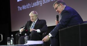 British MP Boris Johnson on the main stage at the Pendulum Summit this year, being interviewed by RTÉ's Bryan Dobson. Photograph: Conor McCabe Photography