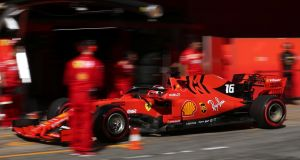 Ferrari's Charles Leclerc in action during pre-season testing in  Barcelona, Spain. Photograph:  Reuters/Albert Gea