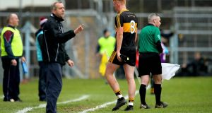 Dr Crokes' Johnny Buckley after being sent off against Mullinalaghta. Photograph: Ryan Byrne/Inpho