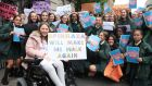 Spinraza activists protest outside the Dáil in Dublin. The drug is used to treat people suffering with spinal muscular atrophy. Photograph: Garrett White/Collins Photo Agency