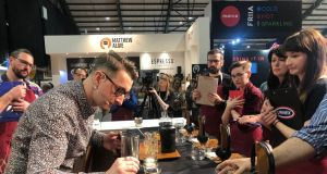 Wojciech Tysler, Irish Barista Champion 2019, performing for the judges at the final which took place at Catex, at the RDS.