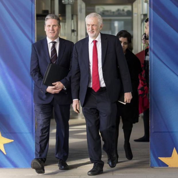 Brexit endgame: Jeremy Corbyn with his shadow Brexit secretary, Keir Starmer, in Brussels last week. Photograph: Thierry Monasse/Getty