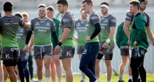 Tom Farrell and Stephen Fitzgerald with teammates at  Connacht's squad training session at  Sportsground, Galway. Photograph: James Crisbie/Inpho