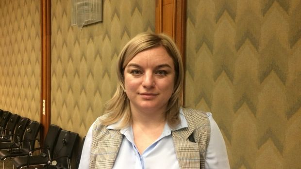 Eleonora Bekirova, a Crimean Tatar journalist who says her father Edem Bekirov has been wrongly accused by Russia of transporting explosives and ammunition into Crimea. Photograph: Daniel McLaughlin