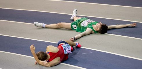 Ireland's Cillin Greene after falling during the men's 400m heats at the 2019 European Athletics Indoor Championships in the Emirates Arena, Glasgow, Scotland. Photograph: Morgan Treacy/INPHO