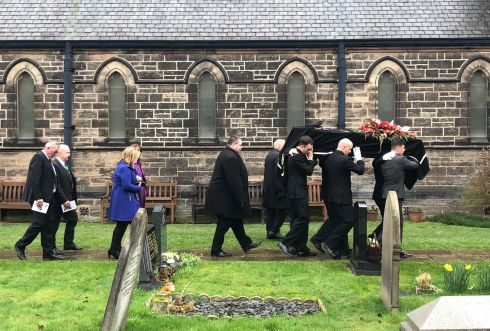 The funeral of former deputy chief constable for Greater Manchester Police John Stalker, at St Peter's Church in Lymm, Cheshire. Photograph: Peter Murtagh