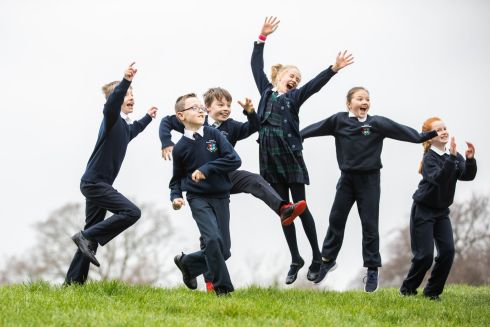 Left to right, Tom O'Scannail, Evan Caisil, Jamie O'Dubhthaigh, Alice Sinclair, Emma Ni Chathasaigh, and Keelin Ni Dhuibhir, fourth-class pupils from Gaelscoil Thaobh Na Coille in Stepaside, Co Dublin, launching An Taisce's National Spring Clean 2019, an anti-litter campaign. Photograph: Naoise Culhane