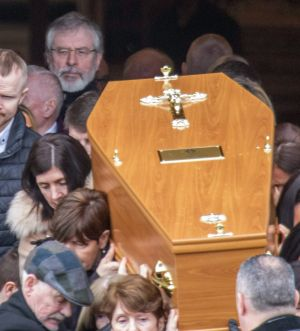 Former Sinn Féin president Gerry Adams (rear, left) at the funeral of his younger brother Liam in Letterkenny, Co Donegal. Photograph: North West Newspix