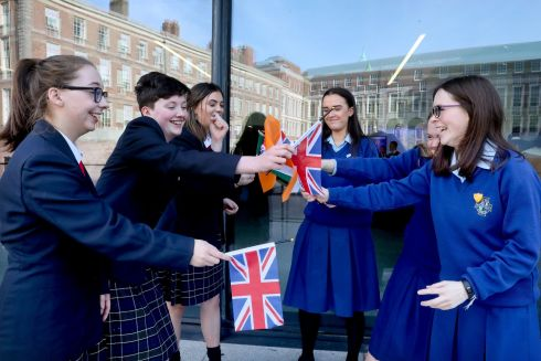 Fourth-year students from left Meghan O' Halloran, Liadain O' Sullivan and Lucy Byrne from St Mary's College in Arklow, Co Wicklow, who represented the UK in a debate with students from Maryfield College, Drumcondra, Co Dublin, from left Katie Farrell , Amy Moran and Ella Roe who represented Ireland in the Model Council of the European Union debate for secondary schools in Dublin Castle. Photograph: Maxwell Photography